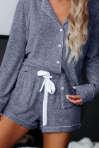 Loungewear azul de manga larga con botones y cordón