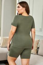 تي شيرت أخضر مقاس كبير برقبة على شكل V وشورت ملابس نوم