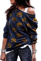 Granatowa bluza z nadrukiem dyni