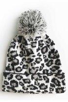Fehér Leopard Pom Beanie