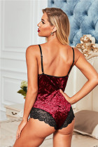 Red Velvet Lace Mesh Stitching Sexig bodysuit