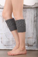 Szürke kötött lábmelegítő zokni