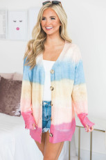 Rainbow Ombre Buttoned Cardigan with Tockets