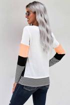 Abrikoos Stijlvolle Colorblock Splicing Stripes Top
