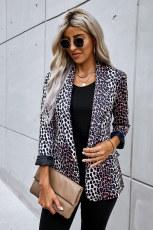 Langarm-Leoparden-Blazer-Anzug mit offener Vorderseite