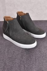 グレーウェッジプラットフォーム加硫靴