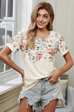T-shirt Spring Vibe a fiori e righe