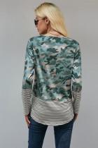 Camo Stripe Pocket đính nối dài tay áo cổ chữ O