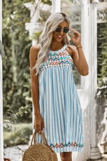Blue Striped Printed Tank Dress