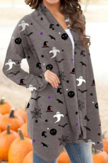 Halloween Spirit Printed Gray Cardigan