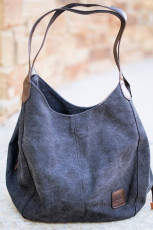 Svart Retro One Shoulder Canvas Hobo Handväska