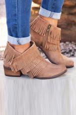 Sepatu Bot Rumbai Tumit Rendah Khaki