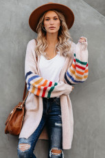 Pink Striped Balloon Sleeve Cardigan