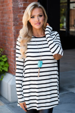 White Stripe Elbow Patch Button Zurück Tunika Top