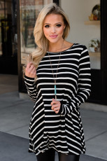 Black Stripe Elbow Patch Button Zurück Tunika Top