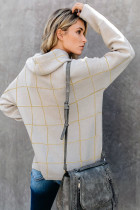 Sweater Turtleneck Pola Kotak Beige