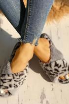 Grijze pluizige luipaard kriskras peep-toe pantoffels