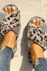Graue flauschige Leopard Crisscross Peep Toe Hausschuhe