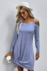 Sky Blue Cold Shoulder Twist Knit Minikleid