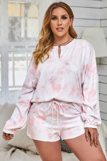 Pink Tie Dye pitkähihainen paita ja shortsit Plus-kokoiset oloasut