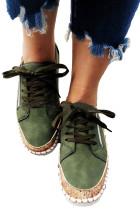 Sepatu datar bermotif Etnis Hijau