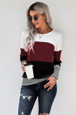 Wine Stylish Colorblock Stlicing Stripes Top