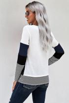 Blauwe stijlvolle colorblock splitsing strepen top