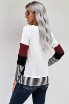 Κρασί Κομψό Colorblock Splicing Stripes Top