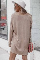 Taupe Long Sleeve Sweater Dress