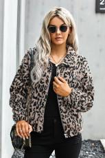Leopardprint Sherpa jakkefrakke