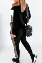 Colorblock Cheetah Sweatshirt Pants Set