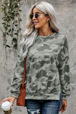 High-Low-Edge-Sweatshirt mit Camo-Print