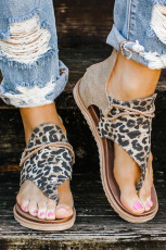 Retro Leopard Zip Flip Flop Sandalen