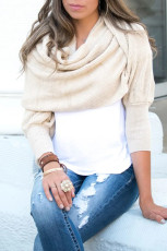 Beige Knit Sweater Scarf