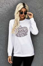 Animal Print Pumpkin Graphic Weiß Sweatshirt