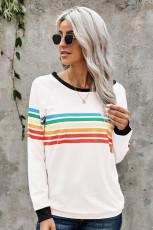 Regenbogen Print Weiß Langarm Top