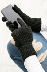 Black Knit Winter Gloves with Suede Patch