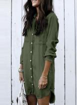 Vestido camisero de manga larga vaquero verde