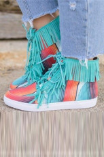 Serape High-top Fringed Canvas Shoes