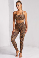 Brown Printed Bra Leggings Set