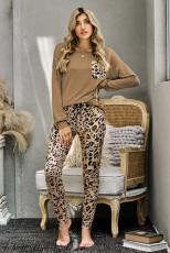 Hnědý ležérní dlouhý rukáv Leopardové kalhoty Loungewear Set