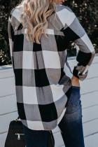 Zwarte geruite button-down blouse met omgeslagen kraag en hoge / lage zoom