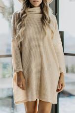 Khaki színű nyak hosszú ujjú zsebes kötött mini ruha