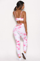 Tie-dye Crisscross Sport Bra and Leggings Set