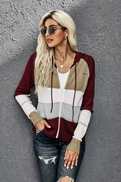 Red Zipped Front Colorblock Hollow-out Knit Hoodie