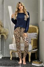 Modré ležérní dlouhý rukáv Leopard kalhoty Loungewear Set