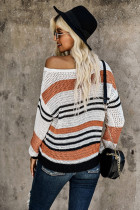 Brown Loose Fit Striped Pattern Sweater