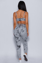Grey Tie-dye Crisscross Sport BH og Leggings Set