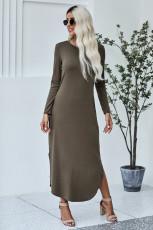 슬릿이있는 녹색 포켓 코튼 드레스