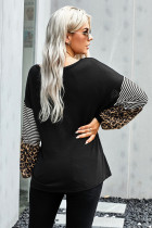 Black Leopard Striped Print Sleeve Colorblock Top
